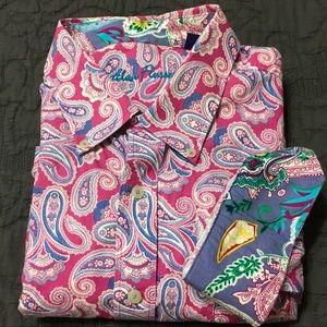 Alan Flusser Pink Blue Paisley LS Shirt XL